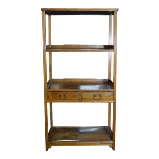 Vintage Classic Design Early 20th Century Chinese Wooden Bookshelf with Drawers For Sale