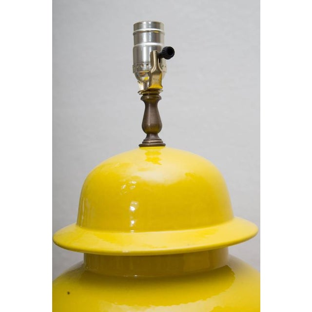 Pair of Yellow Asian Lidded Vases as Lamps - Image 4 of 6
