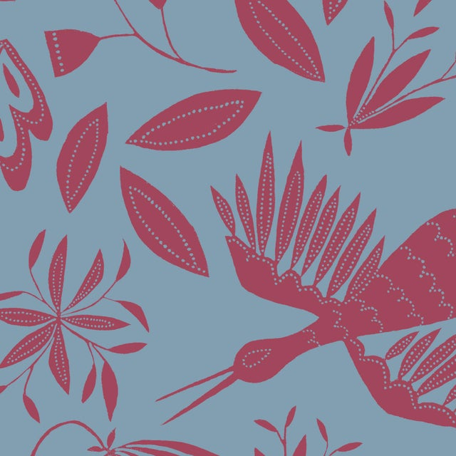 Transitional Julia Kipling Otomi Grand Wallpaper, Sample, in Aster Blue For Sale - Image 3 of 3