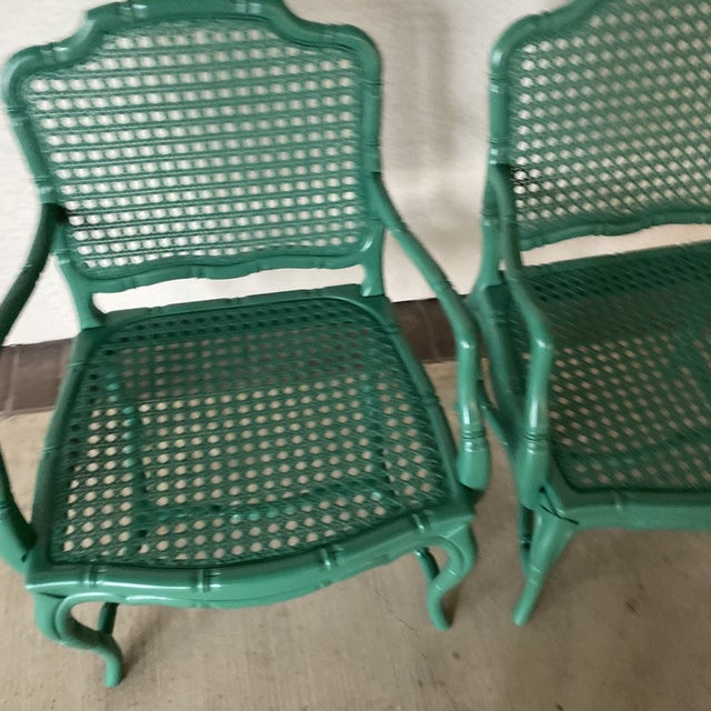 Green Vintage Green Lacquered Chairs - a Pair For Sale - Image 8 of 11