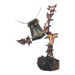 Brutalist Metal Owl Sculpture on Wood For Sale