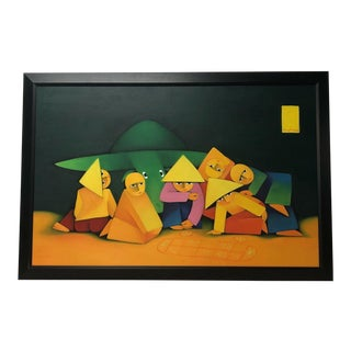 1980s P. Ryhme Large Cubist Inspired Signed Painting For Sale