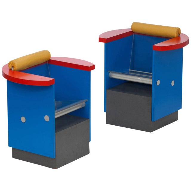 Unusual Pair of Blue, Red and Yellow Memphis Chairs For Sale