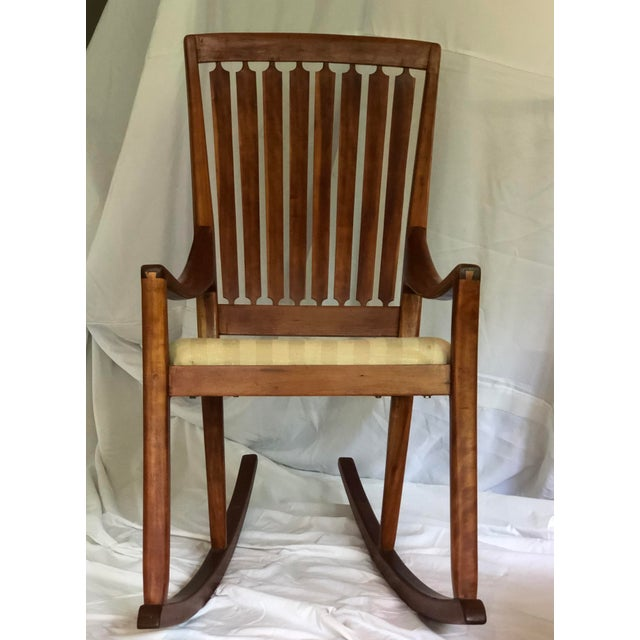 Mid-Century Modern Traditional Cherry and Walnut Rocking Chair For Sale - Image 13 of 13