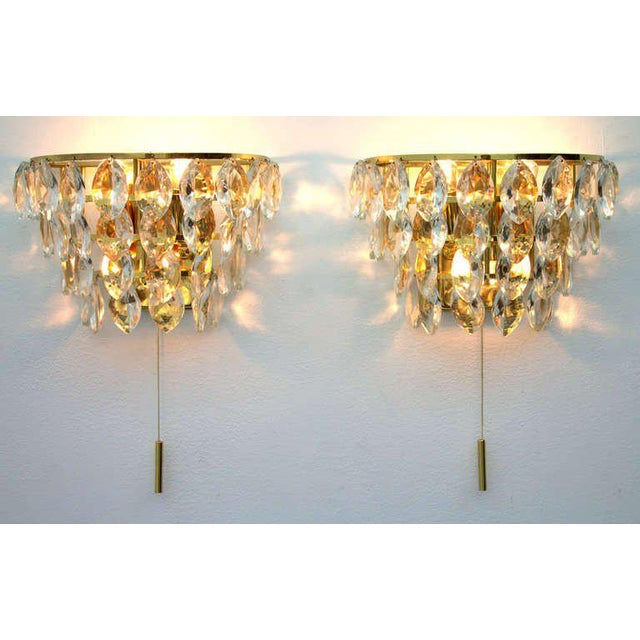 Pair of Palwa Wall Sconces, Gilded Brass and Crystal Glass, Germany 1960s For Sale - Image 6 of 6