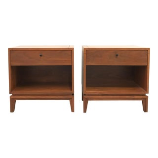 1960s Mid Century Modern Brown Saltman Walnut Nightstands - a Pair