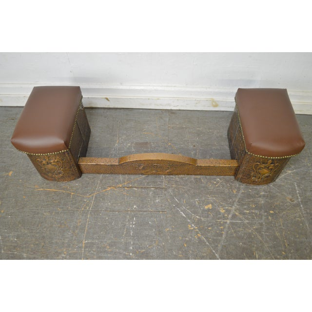 Red Antique English Arts & Crafts Hammered Copper Fireplace Fender w/ Leather Seats For Sale - Image 8 of 10