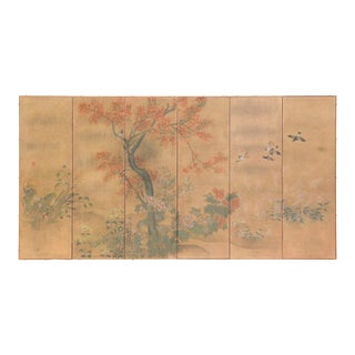 """Chinese Style """"Red Maple With Sparrows"""" Hand-Painted Silver Foil Room Divider Screen by Lawrence & Scott For Sale"""
