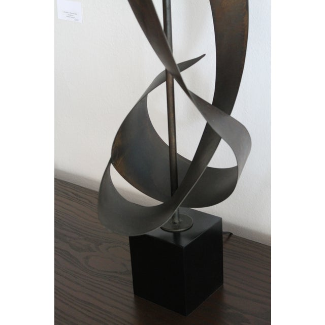 Black Brutalist Ribbon Cut Lamp by Richard Barr and Harold Weiss for Laurel For Sale - Image 8 of 10