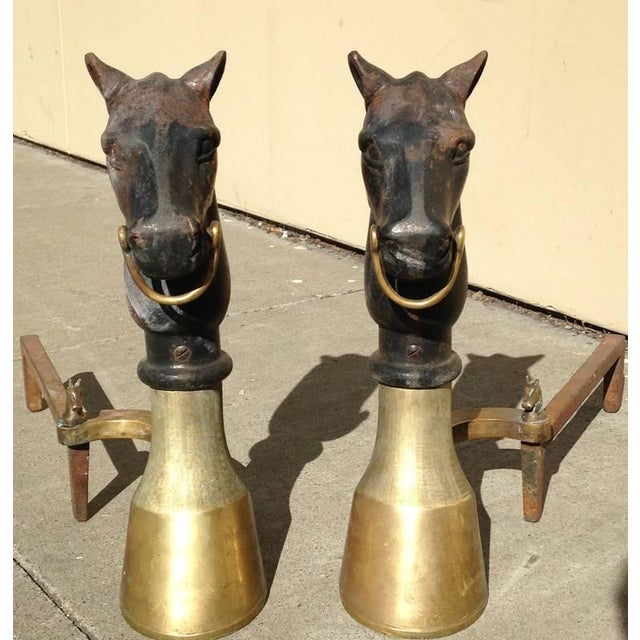 Antique Equestrian Andirons - A Pair - Image 3 of 9