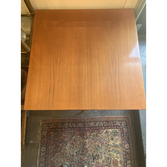 1950s Danish Modern Wood and Metal Coffee Table For Sale - Image 4 of 8