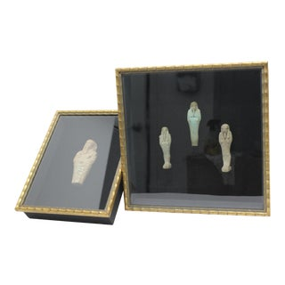 Shadow-Box Framed Ancient Egyptian Ushabti Figures - a Pair Containing 4 Figures For Sale