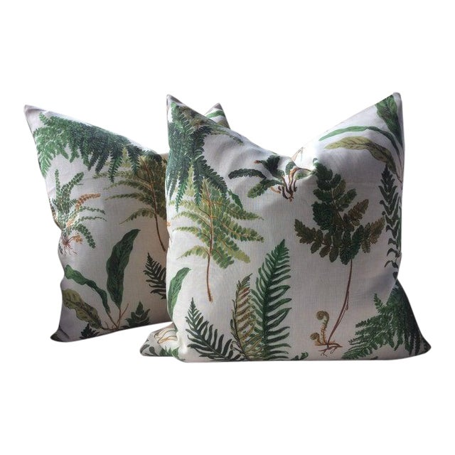 """Hollywood Regency Schumacher """"Les Fougeres"""" in Document Pillows - a Pair For Sale"""