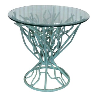 Statuesque Turquoise Faux Coral Wrought Iron Side Table For Sale