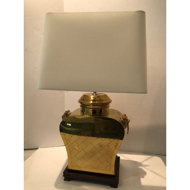 Transitional Vintage 1980s Etched Brass Lamps With Shades - a Pair For Sale - Image 3 of 13