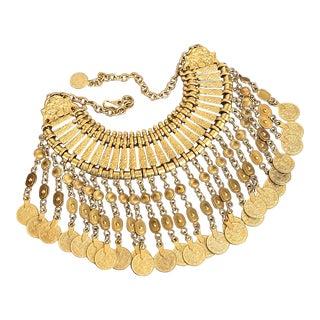 1970s Vintage Moroccan Gold Bib Multi Chain Dangle Filigree Statement Necklace For Sale