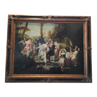 Vintage Oil Painting Scene On The Palace Grounds For Sale