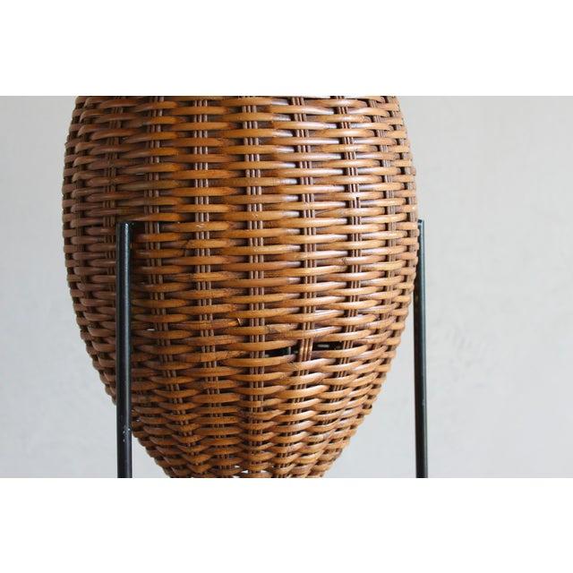 Paul Mayen Mid-Century Rattan & Iron Hairpin Floor Lamp For Sale - Image 12 of 13
