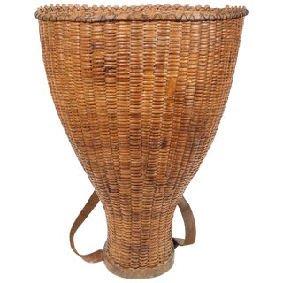 Antique French Grape Pickers Basket For Sale