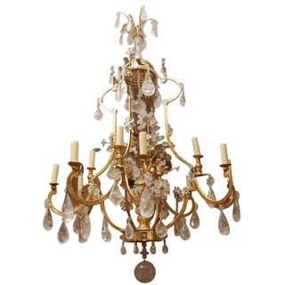 French Style Gilded Iron Rock Crystal Chandelier For Sale