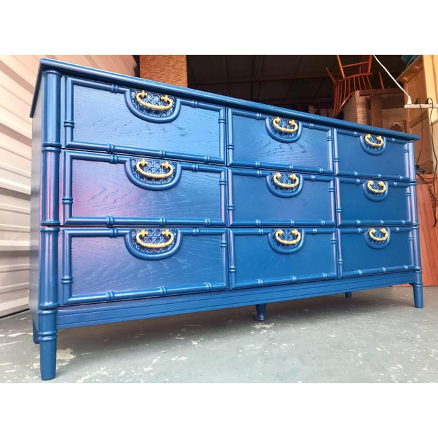 Faux Bamboo Newly Lacquered Blue Dresser For Sale - Image 12 of 12