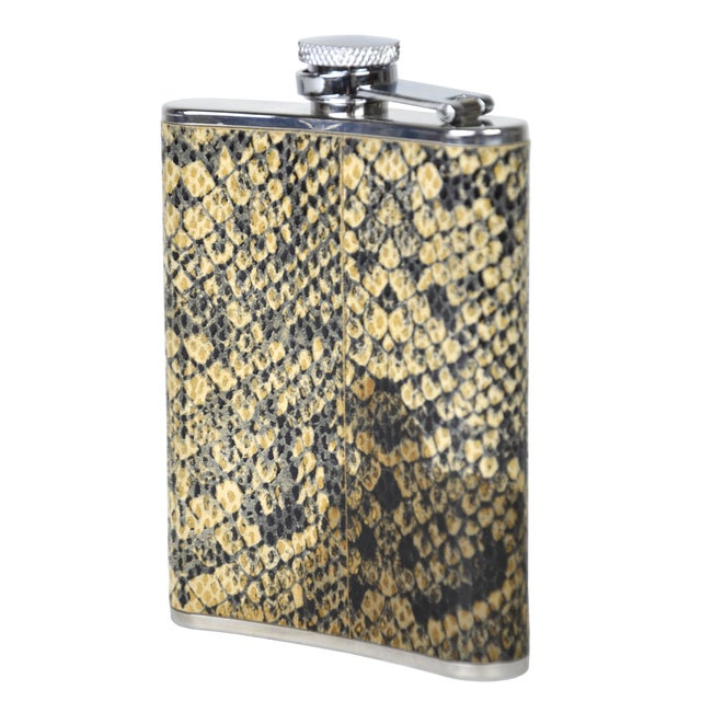 Vintage Python & Steel Flask - Image 1 of 3