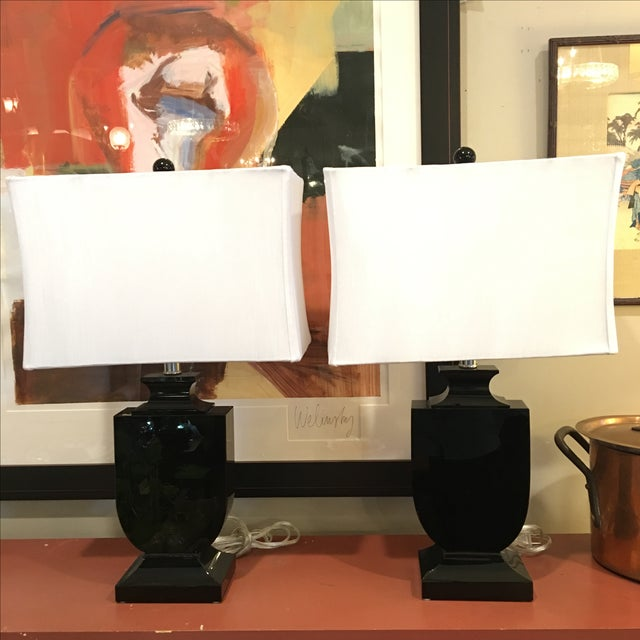 Art Deco Style Cut Crystal Lamps - A Pair - Image 2 of 9