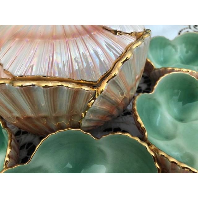 Exceptionally fine and rare Vieiras/ Scallop Table Set from Aleluia Aveiro, Portugal, circa 1945-1960. Beautiful faience...