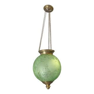 Beautiful Emerald Green Oil Lantern or Pendant ''BACCARAT''Circa 1890s.