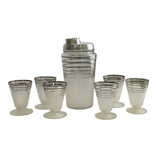 Mid-Century Martini Shaker & 6 Glasses For Sale