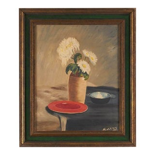 Vintage Still-Life Oil Painting on Canvas For Sale