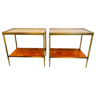 Leather Top Baguès Style End Tables by John Boone With Tortoise Shell Form Top For Sale