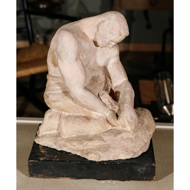 WPA Sculpture of Man in Thought - Image 2 of 8