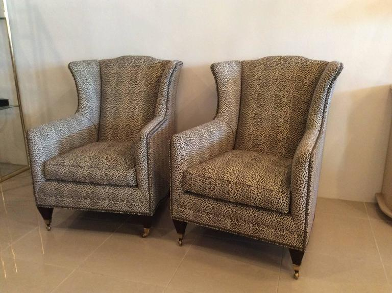 Henredon Vintage Wingback Animal Print Chairs   A Pair   Image 2 Of 10