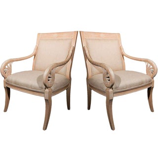 Pair of French Distressed Armchairs Upholstered in Burlap For Sale