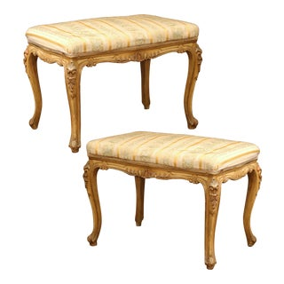 Pair of 19th Century French Louis XV Carved Painted Stools With Silk Fabric