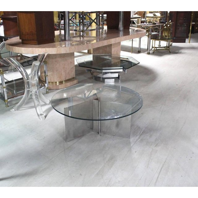 Aluminum Paul Mayen for Habitat Round Glass Topped Triangular Based Coffee Table For Sale - Image 7 of 7