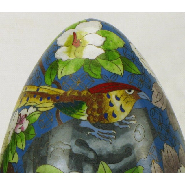 "Black Pair 11.5"" Colorful Cloisonne Eggs For Sale - Image 8 of 11"