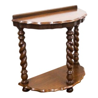 Early 20th Century Walnut Barley Twist Demi-Lune Shelf Table For Sale