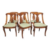 Image of 19th Century Antique Empire Klismos Carved Dining Chairs - Set of 6 For Sale
