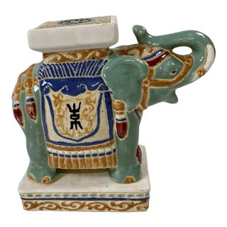 Vintage Colorful Ceramic Elephant Stand For Sale