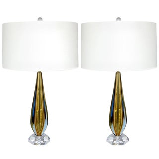 Sommerso Murano Glass Table Lamps Blue Gold For Sale