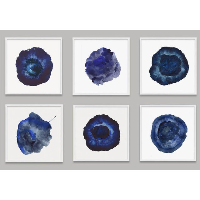 Framed Blue Abstract Prints - Set of 6 For Sale - Image 9 of 9