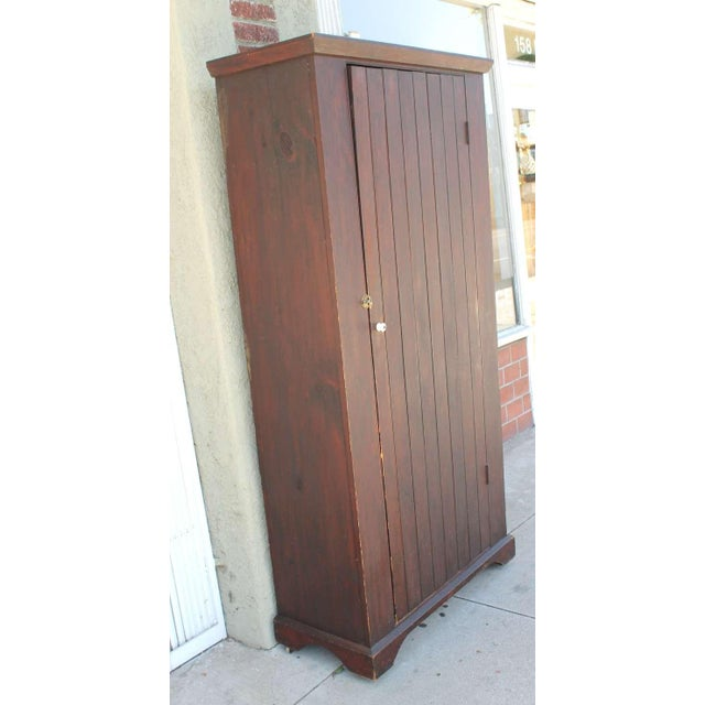 Original Brown Painted 19th Century Pennsylvania Wall Cupboard For Sale In Los Angeles - Image 6 of 9