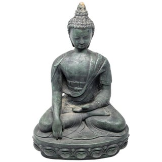 Contemporary Buddha Sandstone Garden Statue For Sale