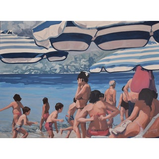 'Napili Beach - Maui' Painting of Sunseekers by Maui's Contemporary Expressionist George Brinner For Sale
