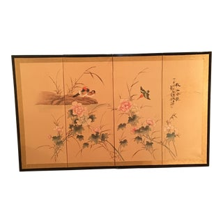 1960s Chinoiserie Hand-Painted Screen For Sale