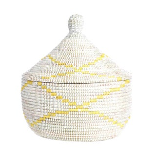 Yellow & White Handmade Lidded African Woven LaJolla Basket Sengalese For Sale