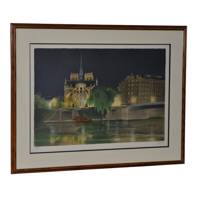 "Vintage ""Notre-Dame De Paris"" Color Lithograph Signed / Numbered C.2004 For Sale"