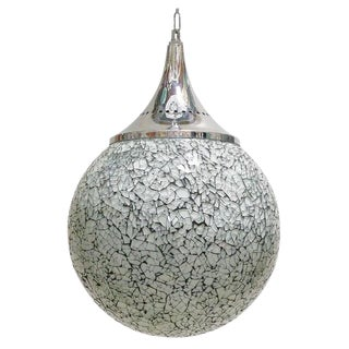 Crackled White Glass Globe Pendants by Fabio Ltd For Sale